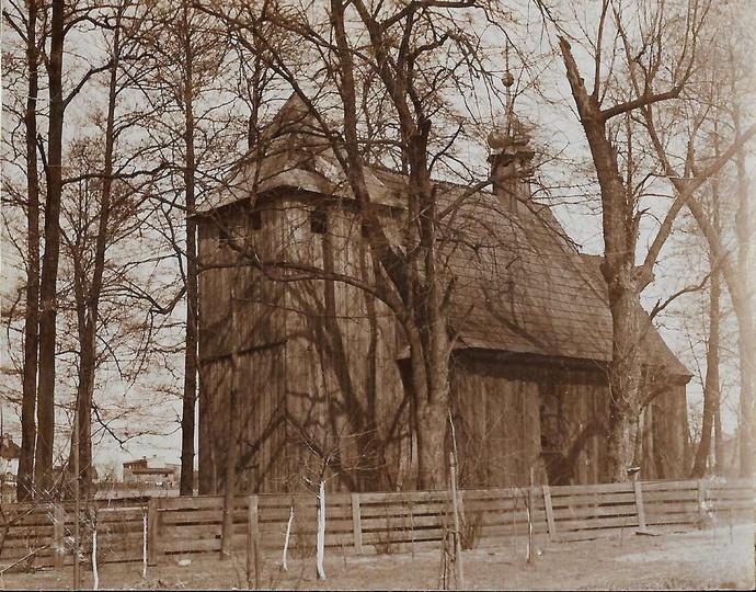 Drewniany kościół św. Mikołaja z 1758 r. Unikatowe zdjęcie z lat trzydziestych.... -