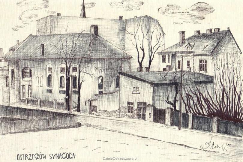 Grafika autorstwa Konrada Kempy przedstawiająca ulicę Piekary i ostrzeszowską sy..., stare zdjęcia -
