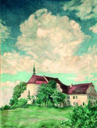 Antoni Serbeński , Klasztor w Ostrzeszowie, olej, stare zdjęcia -