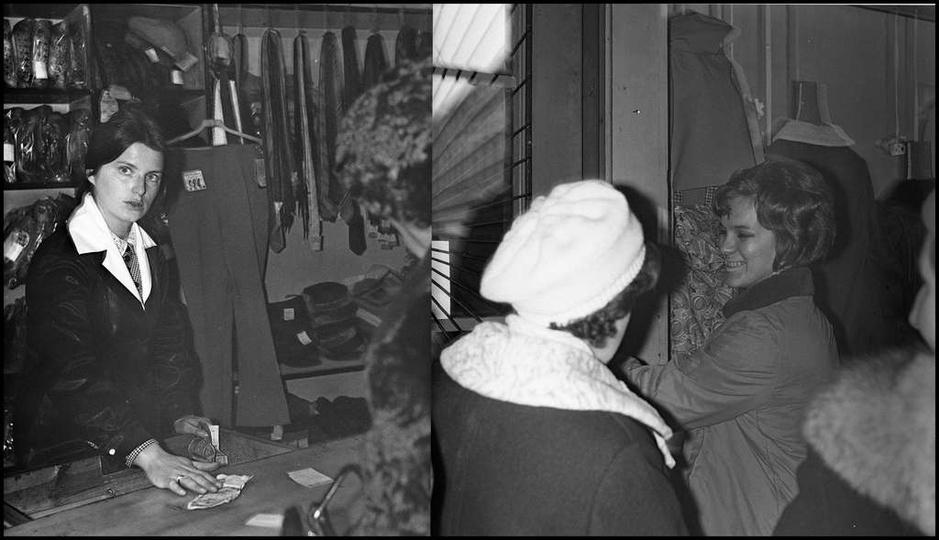 Grudzień 1970 rok, przedświąteczna gorączka zakupów w należącym do PSS-u sklepie..., stare zdjęcia -