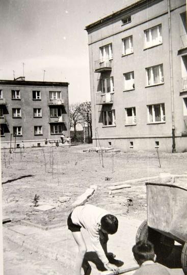 Osiedle M. Nowotki (Zamkowe) Lata sześćdziesiąte, po lewej blok nr 14 po prawej..., stare zdjęcia -