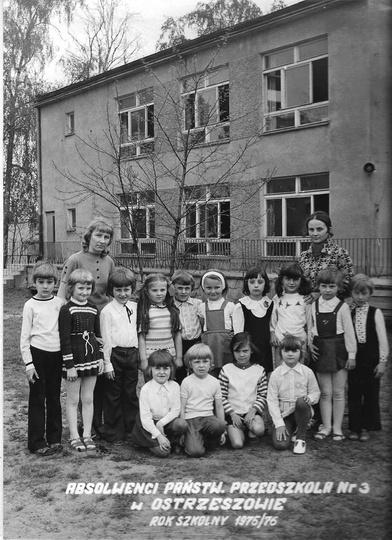 Absolwenci Państwowego Przedszkola Nr 3 w Ostrzeszowie. Rok szkolny 1975/76. Pr..., stare zdjęcia -
