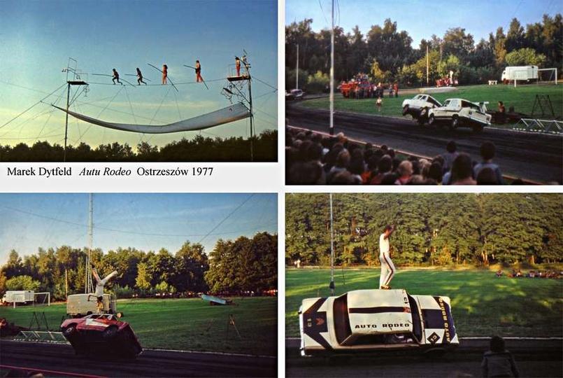 Rok 1977. Akrobacje samochodowe na stadionie miejskim w Ostrzeszowie. Auto Moto..., stare zdjęcia -