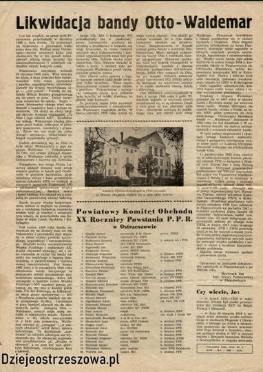 Jednodniówka wydana w lutym 1962 roku, przez KP PZPR  w Ostrzeszowie, z okazji 2..., stare zdjęcia -
