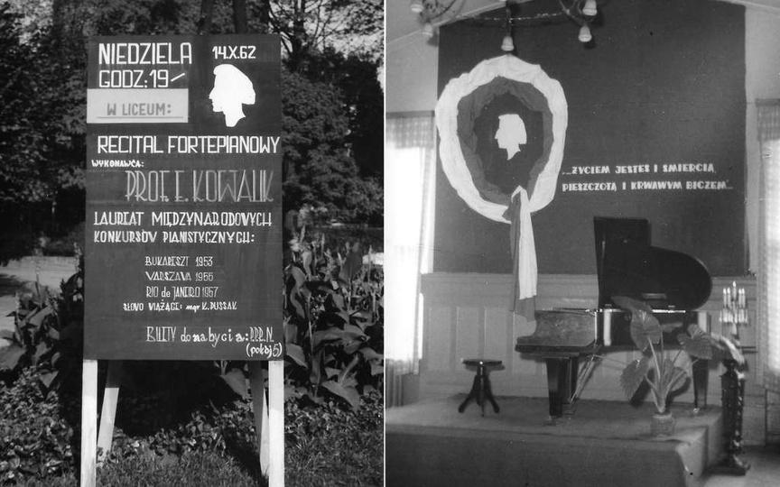 Ogłoszenie informujące o recitalu fortepianowym prof. Edwina Kowalika w Ostrzesz..., stare zdjęcia -