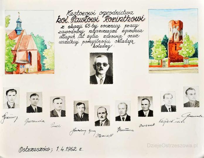 Ostrzeszowscy ogrodnicy w komplecie! Ostrzeszów 1. 04. 1962 rok. Dyplom przyzn..., stare zdjęcia -