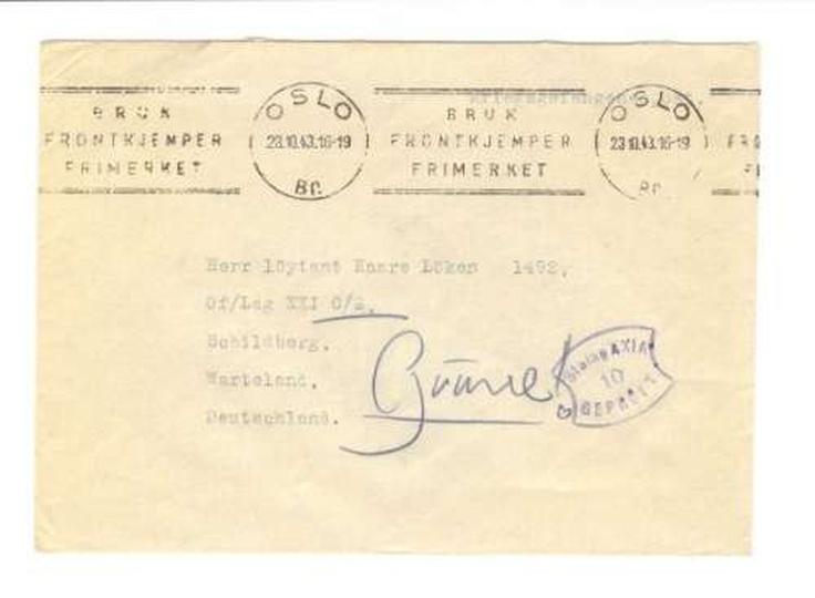 List do jeńca norweskiego przebywającego w Stalagu XXI w 1943r., stare zdjęcia -