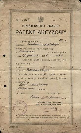 Patent akcyzowy hurtowni i składu piwa Szczepana Feige w Ostrzeszowie. 1926 r. ..., stare zdjęcia -