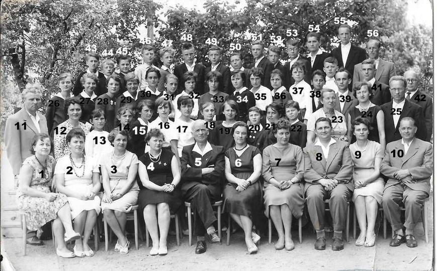Rok 1962(?), zakończenie nauki w Szkole Podstawowej nr 2, klasa B z nauczycielam..., stare zdjęcia -