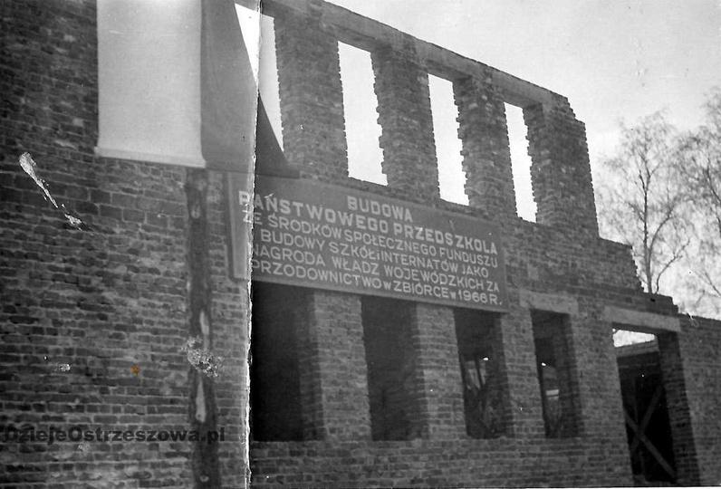 Osiedle M. Nowotki (Zamkowe). Rok 1966, budowa przedszkola przy ulicy Boh. Stal..., stare zdjęcia -