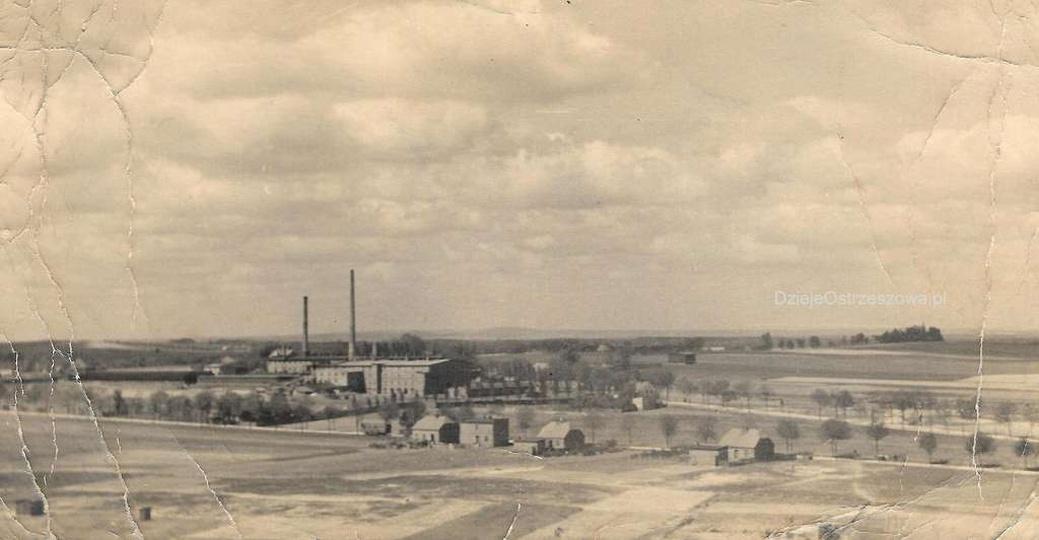 Koniec lat czterdziestych, widok z wieży ciśnień na ulicę Pogodną i cegielnię na..., stare zdjęcia -