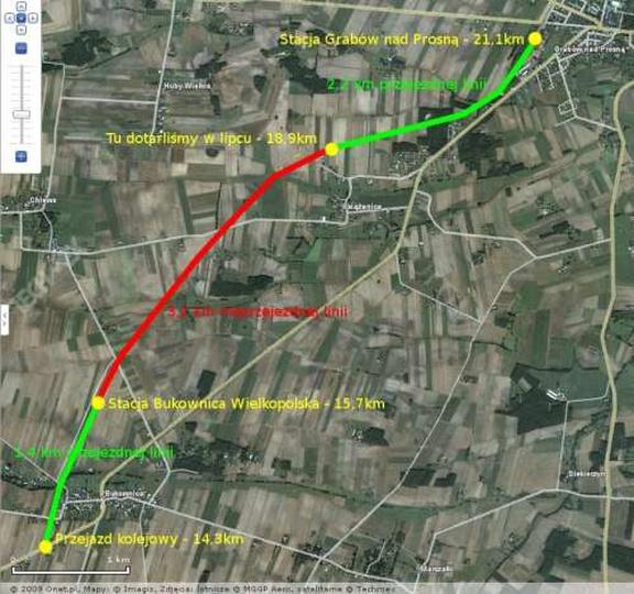Aktualna mapa przejezdnego i nieprzejezdnego toru, stare zdjęcia -