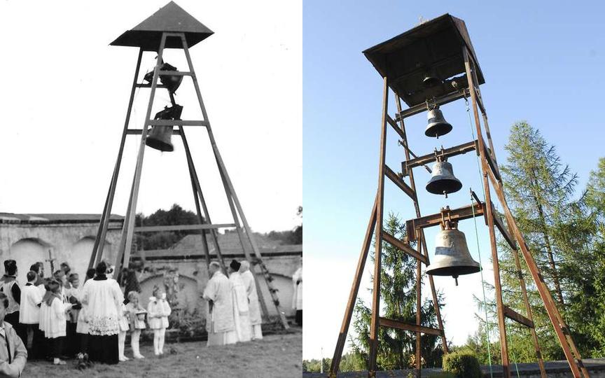 Klasztorna, metalowa dzwonnica, stała w miejscu starej, drewnianej, rozebranej p..., stare zdjęcia -
