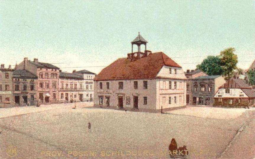 Ostrzeszów (Schildberg), plac targowy (Marktplatz) znajdujący się na Rynku . Po..., stare zdjęcia -