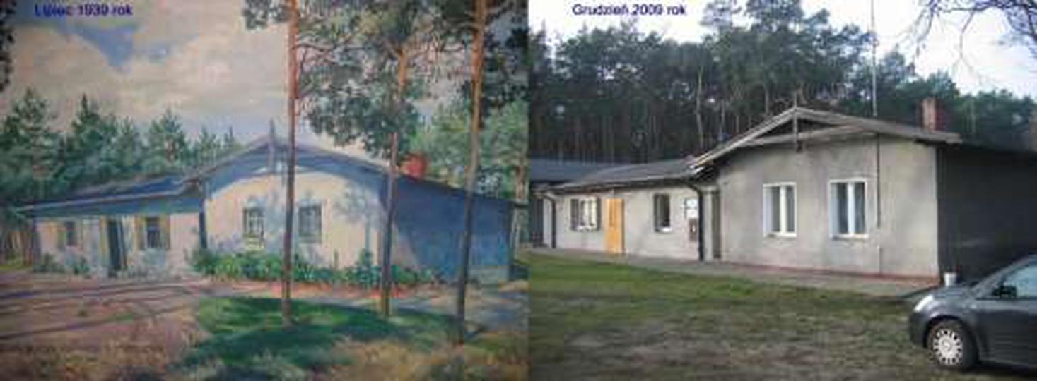 Zabudowania strzelnicy Bractwa Kurkowego w Ostrzeszowie u zbiegu ulic Piastowski..., stare zdjęcia -
