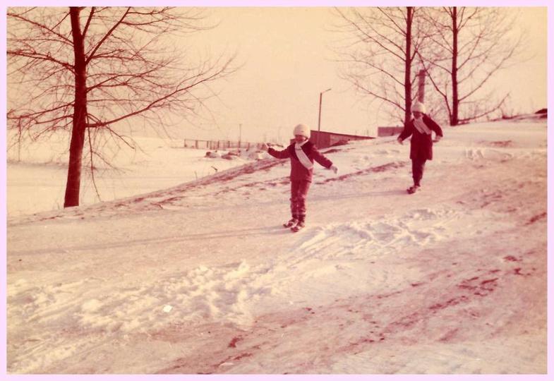 Zima 1986 roku, górka przy ulicy Łąkowej., stare zdjęcia -