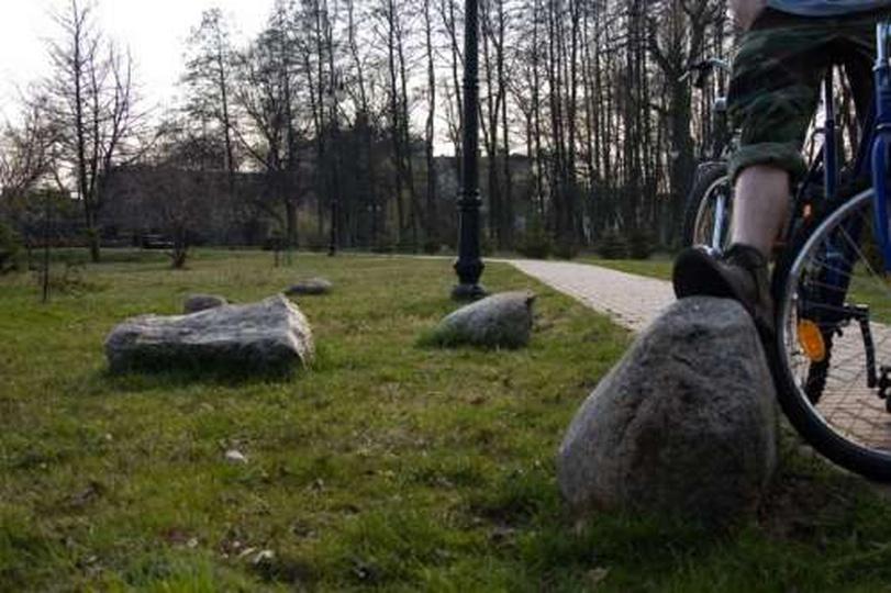 Kamienie w parku koło dworku - 4 kwietnia 2009, stare zdjęcia -