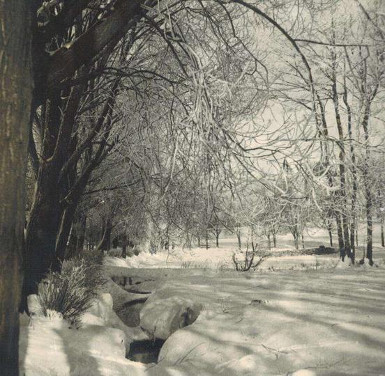 Strzegowa i alejki klasztorne przysypane śniegiem. Zdjęcie przedwojenne,wykonane... -