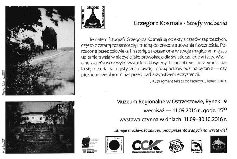 Zaproszenie na otwarcie wystawy fotografii Grzegorza Kosmali w Muzeum Regionalny..., stare zdjęcia -