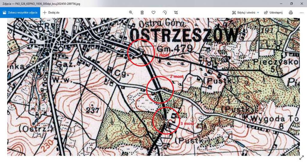 Fragment mapy z 1936 roku z zaznaczonymi trzema mostami kolejowymi. Trzeci most ..., stare zdjęcia -