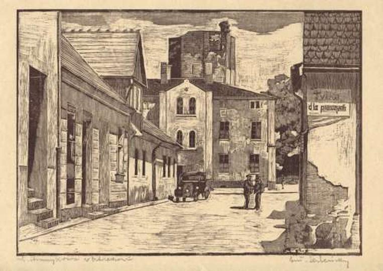 Antoni Serbeński - drzeworyt - ulica Strumykowa, stare zdjęcia -
