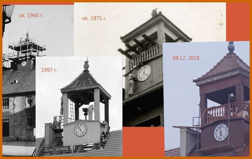 Remonty ratuszowej wieży na przestrzeni prawie osiemdziesięciu lat., stare zdjęcia -