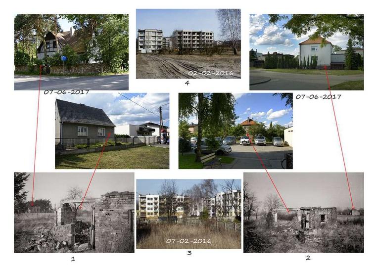 Kolaż zdjęć przedstawiający lokalizację ruiny budynku z 1975 r.. Widoczne cztery..., stare zdjęcia -