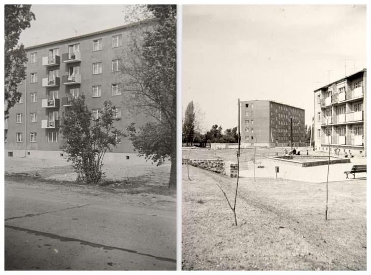 Osiedle M. Nowotki Blok nr 16, na prawym zdjęciu blok nr 16 i blok nr 4., stare zdjęcia -